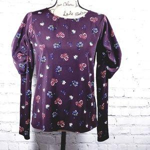 Express dark purple blouse pouf sleeves